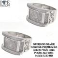 STERLING SILVER MEN'S MICRO PAVE RING  PREMIUM GENUINE CZ  RHODIUM PLATING  PRONG SETTING