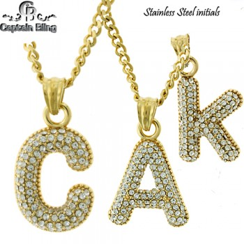 STAINLESS STEEL INITIALS SET APPX 1.5 INCHES COMES WITH 2MM CUBAN NECKLACE 24 INCHES