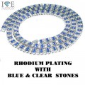 2 ROW RHODIUM WITH BLUE AND CLEAR STONES