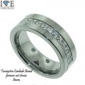 TUNGSTEN CARBIDE BAND  8MM  PRINCES CUT CZ