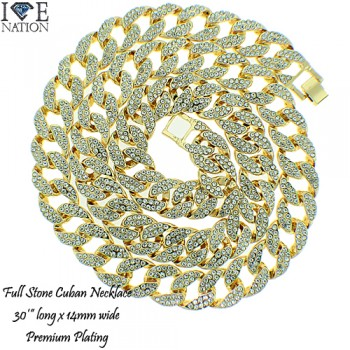 FULL STONE CUBAN 30 INCH NECKLACE PREMIUM PLATING