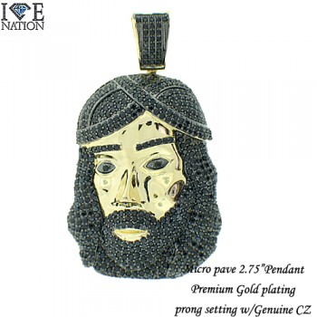 MENS MICRO PAVE CZ  PENDANT  RHODIUM PLATING  MADE OUT BRASS MATERIAL  GENUINE  CLEAR CZ AND BLACK CZ  MICRO PAVE SETTINGS  EACH STONES IS HAND MADE 4 PRONG SETTINGS  14KT GOLD PREMIUM PLATING  Pictures might not describe how good has the pendant cz stones and settings.