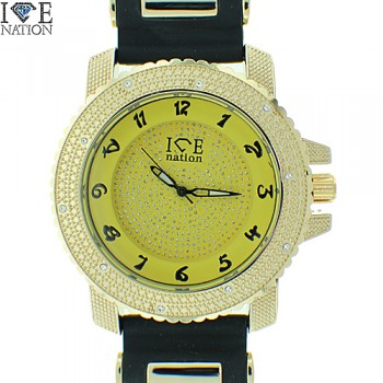 MEN'S HIP HOP ICE NATION   ELEGANT STYLE HEAVY DUTY CASE  ,  PAVE LOOK EYE CATCHING DIAL WATCH WITH PREMIUM QUALITY  SILICONE BAND WITH  BULLETS BY ICE NATION WATCHES.