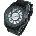 Mens casual watches with heavy duty case and heavy duty silicone  band