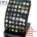 "24 PAIR MICRO PAVE BRASS WITH GENUINE CZ EARRINGS WITH PREMIUM PLATING , LOOKS LIKE REAL DIAMONDS ALL STONES ARE PRONG SETTINGS   ASSORTED STYLES AND ASSORTED COLORS SIZES 4X4, 5X5 & 7X7 ,  YOUR COST WITH DISPLAY $4.50 EACH DISPLAY DIMENSION 3.5""X2.75"" SMALL ENOUGH TO FIT EVERY  CORNER OF  YOUR DISPLAY, BOOST YOUR SALES LIMITED TIME OFFER."