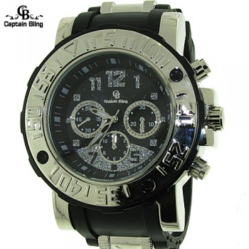 """MEN'S HIP HOP CAPTAIN BLING ELEGANT STYLE ,  PAVE LOOK EYE CATCHING DIAL WATCH WITH PREMIUM QUALITY  SILICONE BAND WITH STAINLESS STEEL SAFETY BUCKLE  BY ICE NATION WATCHES.  LENGTH: FIT UP TO 8.25""""  WIDTH: 50 MM  THICKNESS: 18MM"""