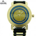 MEN'S HIP HOP DESIGNER ELEGANT PAVE LOOK EYE CATCHING DIAL WATCH WITH BULLET BAND