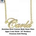 """CUSTOM MADE NAME PLATE , PREMIUM GOLD PLATING AND 2MM THICK, COMES WITH 18"""" NECKLACE"""