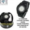 12 DIAMONDS MENS HIP HOP BULLET BAND WATCH PAVE MASTER BY ICE NATION COMES WITH 2 EXTRA LEATHER BAND WITH BOX