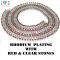 4 ROW NECKLACE RHODIUM PLATING WITH RED AND CLEAR STONES