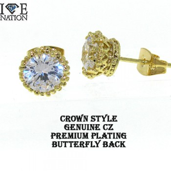 FASHION GENUINE CZ CROWN VICTORIAN STYLE STUDS WITH BUTTERFLY BACK, HEAVY DUTY BASKET SETTING.