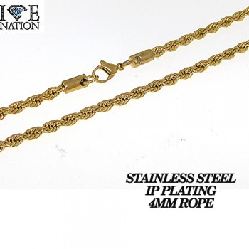 STAINLESS STEEL ROPE NECKLACE WITH IP PLATING