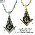 STAINLESS STEEL MASONIC NECKLACE,  DESIGNER STYLE HEAVY DUTY PREMIUM PLATING  YOUR DIRECT SOURCE FOR WHOLESALE STAINLESS STEEL JEWELRY @ WWW.DIRECTSILVERFACTORY...
