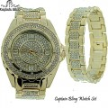 MEN'S FULL ICED OUT CAPTAIN BLING WATCH + MATCHING BRACELET , COMES WITH NICE  BOX.