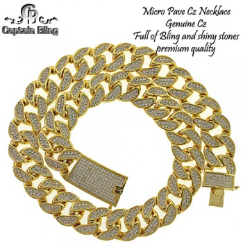 CUBAN NECKLACE FULL OF MICRO PAVE CZ  GENUINE CZ  PRONG SETTING  BOX LOCK  PREMIUM QUALITY  18MM