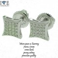 STERLING SILVER MICRO PAVE GENUINE CZ EARRING , SCREW BACK AND PRONG SETTING.