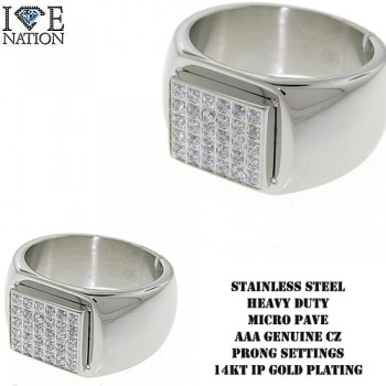 STAINLESS STEEL MICRO PAVE HEAVY DUTY RING WITH PRONG SETTINGS, PREMIUM IP GOLD AND WHITE PLATING