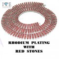 4 ROW NECKLACE RHDOIUM WITH RED STONES
