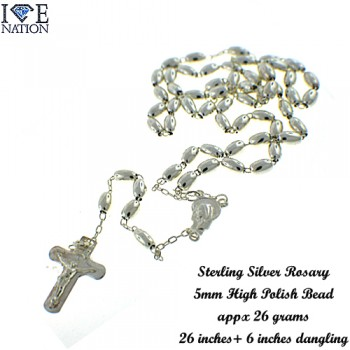 STERLING SILVER ROSARY.
