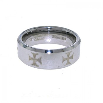 Tungsten carbide 8mm comfort fit band with laser iron cross all around the ring