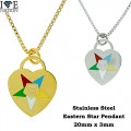 STAINLESS STEEL EASTERN STAR NECKLACE,  DESIGNER STYLE HEAVY DUTY PREMIUM PLATING  YOUR DIRECT SOURCE FOR WHOLESALE STAINLESS STEEL JEWELRY @ WWW.DIRECTSILVERFACTORY...