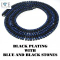 4 ROW NECKLACE BLACK AND BLUE STONES
