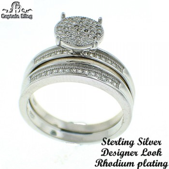 Sterling silver Micro Pave prong settings with .09 mm Genuine Cz Stones traditional style  with Rhodium finish looks like white gold with AAA CZ  stone settings.