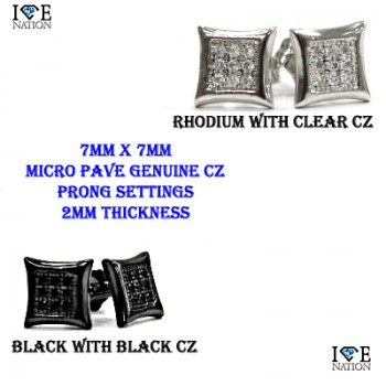 MENS MICRO PAVE CZ  EARRINGS  RHODIUM PLATING  MADE OUT BRASS MATERIAL  GENUINE  CLEAR CZ AND BLACK CZ  MICRO PAVE SETTINGS  EACH STONES IS HAND MADE 4 PRONG SETTINGS  14KT WHITE GOLD RHODIUM FINISH/GM METAL PREMIUM PLATING  Pictures might not describe how good has the Earing cz stones and settings
