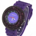 6 row ladies  color matching pave settings rhine stone with matching silicone band amazing looking watch
