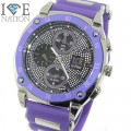 Mens Ice Nation hip hop designer look pave eye catching dial watch and Bullet band