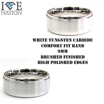WHITE TUNGSTEN CARBIDE  RING 8MM COMFORT FIT, LOOKS LIKE REALL 14KT WHITE GOLD BAND LIMITED QUANTITIES ON HAND