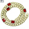 """FULL STONE CUBAN NECKLACE APPX 30"""" LENGTH WITH SYNTHETIC RUBY STONE."""