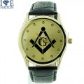 Men's Elegant Dress Masonic Watch with Premium Leather band with stainess steel buckle.