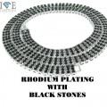 3 ROW RHODIUM WITH BLACK STONES