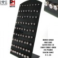 36 PAIRS GENUINE CZ EARRING WITH PREMIUM ROSE GOLD PLATING DISPLAY COMES ASSORTED MM EACH COST $1.16