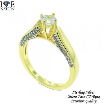 STERLING SILVER MICRO PAVE LADIES RING WIH GENUINE CZ & PREMIUM GOLD PLAITNG