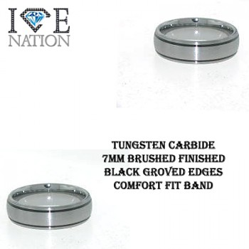TUNGSTEN CARBIDE 7MM BRUSHED FINISHED CENTER WITH BLACK GROVED EDGES COMFORT FIT