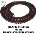 4 ROW NECKLACE BLACK WITH RED STONES