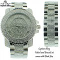 MEN'S FULL ICED OUT CAPTAIN BLING WATCH + MATCHING BRACELET , COMES WITH NICE BLACK BOX.