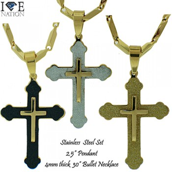 """STAINLESS STEEL PENDANT + 30"""" NECKLACE SET"""