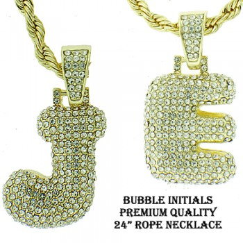 MICRO PAVE BUBBLE LETTERS COMES WITH NECKLACE