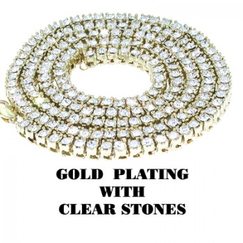1 ROW GOLD PLATED WTH CLEAR STONES