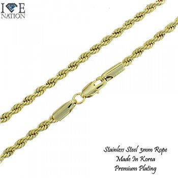STAINLESS STEEL ROPE NECKLACE, PREMIUM PLATING MADE IN KOREA.