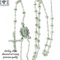 STERLING SILVER DIAMOND CUT ROSARY COMES IN DIFFERENT LENGTH PREMIUM QUALITY