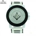 MEN'S HIP HOP MASONIC DESIGNER ELEGANT PAVE LOOK EYE CATCHING DIAL WATCH WITH BULLET BAND