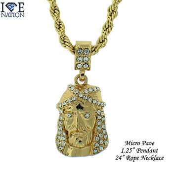 Micro pave pendants are made of casting with high quality stone, finished a thick layer of rhodium,gold  and gun metal with extra shine each piece looks and feels like genuine diamond and appx 1.25 inches long with figaro OR rope chain