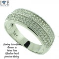 STERLING SILVER WEDDING BAND PREMIUM CUTS AND PREMIUM QUALITY   Micro pave Rings are made of  Sterling Silver casting with high quality AAA grade CZ stones, finished a thick layer of Rhodium for long lasting shine each piece looks and feels like genuine diamond.