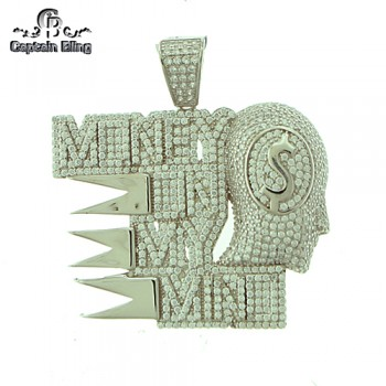 STERLING SILVER MICRO PAVE CZ PENDANT  APPX  2.5 INCHES