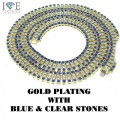 4 ROW NECKALCE GOLD PLATING WITH BLUE AND CLEAR STONES