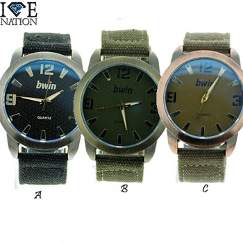 Mens  watches with heavy duty case and heavy duty Jeans cloth band with iredecent crystal , Retail up to $29.95